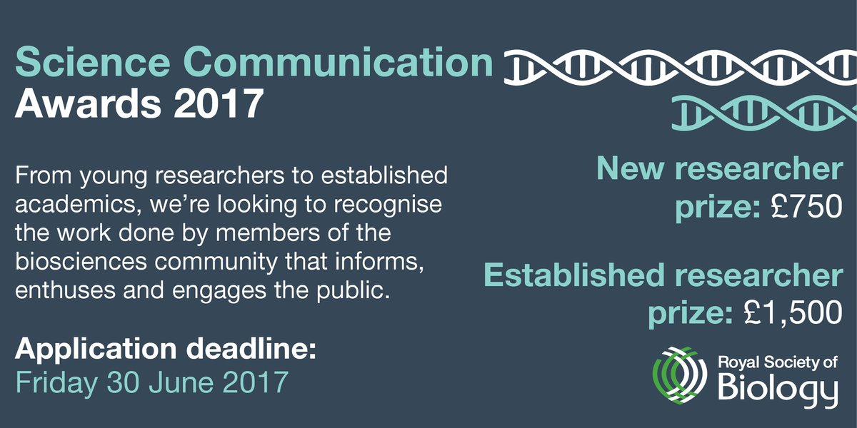 If you know someone who deserves recognition for their #SciComm work, encourage them to apply now:  http:// ow.ly/o7MB30cHZbY  &nbsp;  <br>http://pic.twitter.com/KCHwuz5FYu