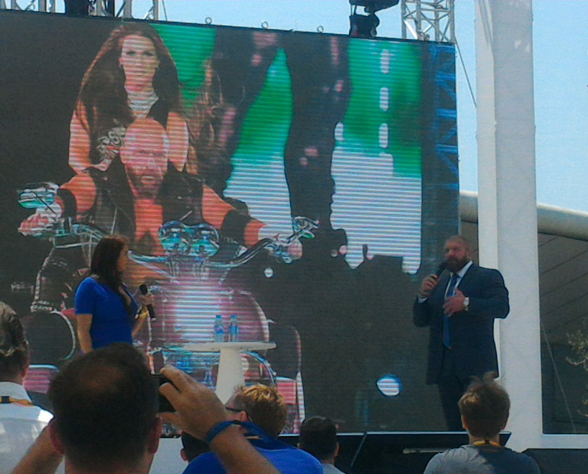 @TripleH @StephMcMahon dropping #KNOWLEDGE  on how storytelling and multiple bussniness platforms makes @wwe so great. #CannesLions <br>http://pic.twitter.com/NntIIvlnN2