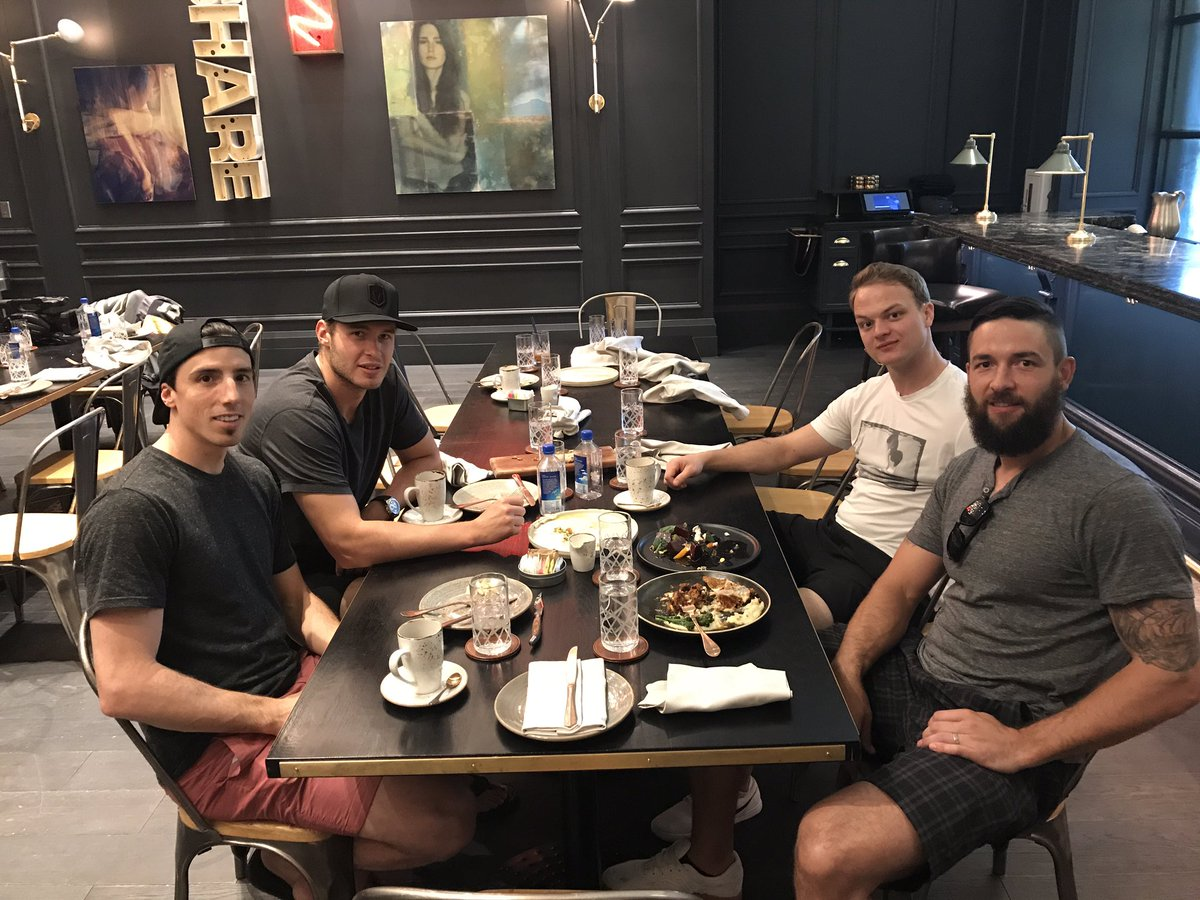 Reid Duke's first Golden Knights team meal where he didn't have to eat...
