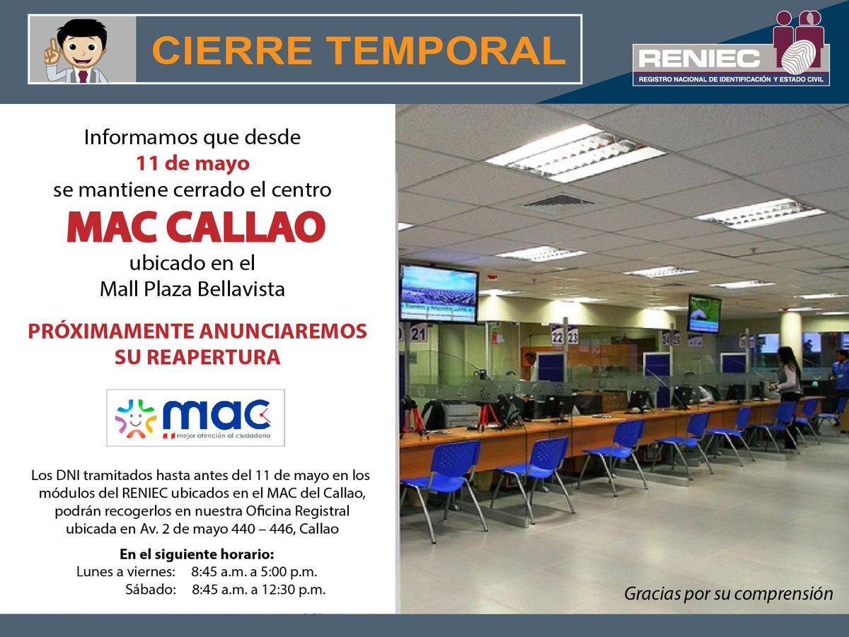 Reniec Perú Auf Twitter Atención Cierre Temporal Del Mac