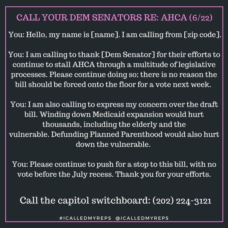 Call your Democratic #Senators about fighting the #HealthCareBill that will end many lives and sharply reduce the quality of countless more.<br>http://pic.twitter.com/wAHMkCZxWF