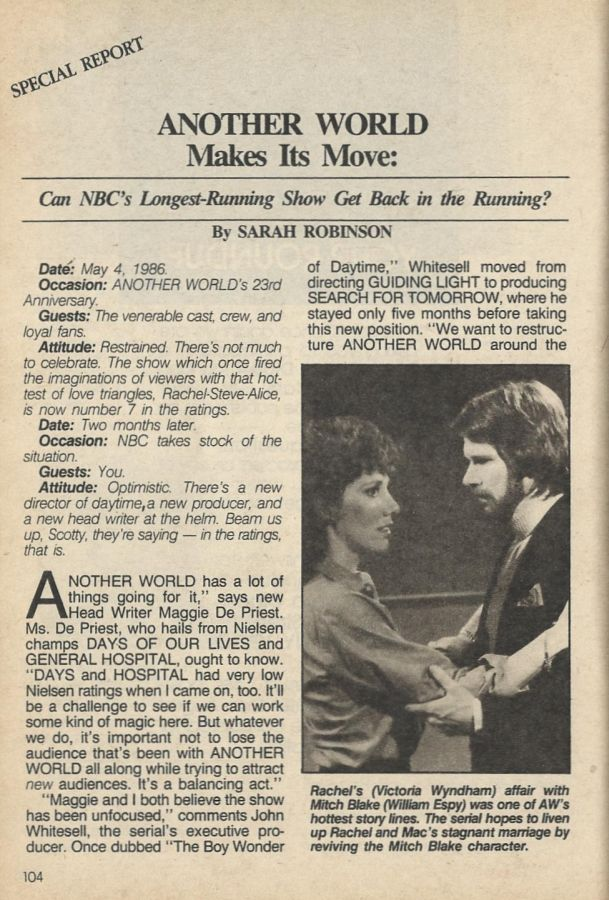 &quot;#AnotherWorld Makes Its Move: Can NBC&#39;s Longest Running Show Get Back in the Running?&quot; #AW  SOD July 29, 1986  https:// classicsodnews.tumblr.com / &nbsp;  <br>http://pic.twitter.com/5QJ8ZGIYoX