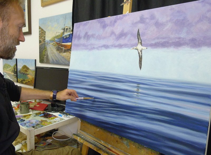 On the easel this afternoon: 36x26 inch, oil - Having fun with this one. #albatross #seabird #ocean #oilpainting<br>http://pic.twitter.com/qBWryPs6HG