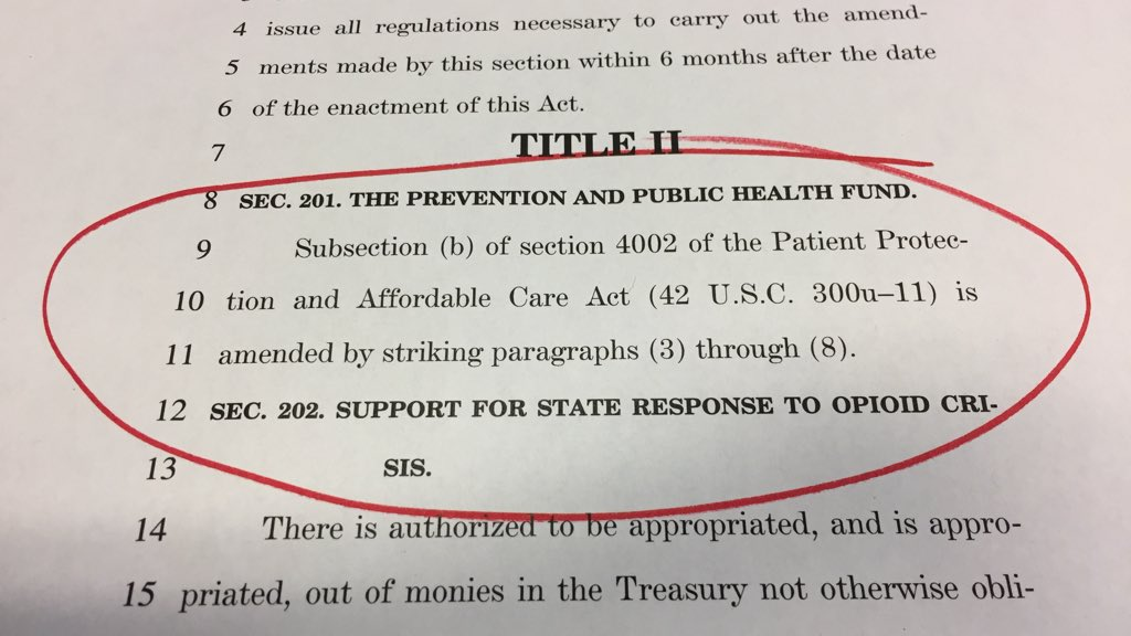 This cuts over $4 billion from the Prevention & Public Health Fund. That's a cruel joke on those who need preventive care & immunizations.