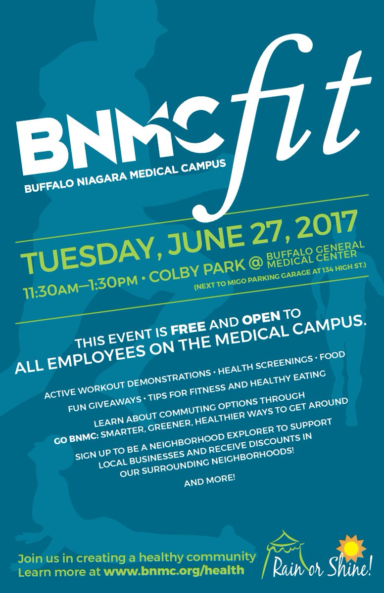 Join us for BNMC fit next Tuesday along w/ @RoswellPark , @Unyts , @GOBuffalo , @JCCBuffalo and many more for a day of healthy fun.