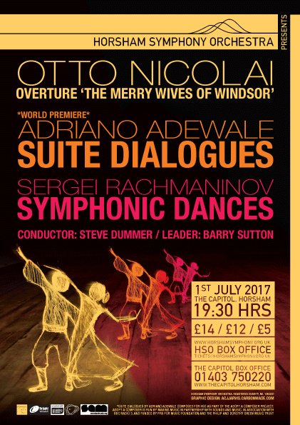 Amazing @hso concert next Saturday night @CapitolHorsham with world premiere by @AdrianoAdewale and recorded by @BBCRadio3 #ClassicalMusic <br>http://pic.twitter.com/WMwEKae60O