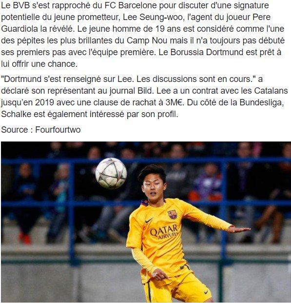 Le Borussia Dortmund s'intéresse au Barcelonais #Lee ! #bvb #mercato #transfertpic.twitter.com/kjrE7oL2Ki