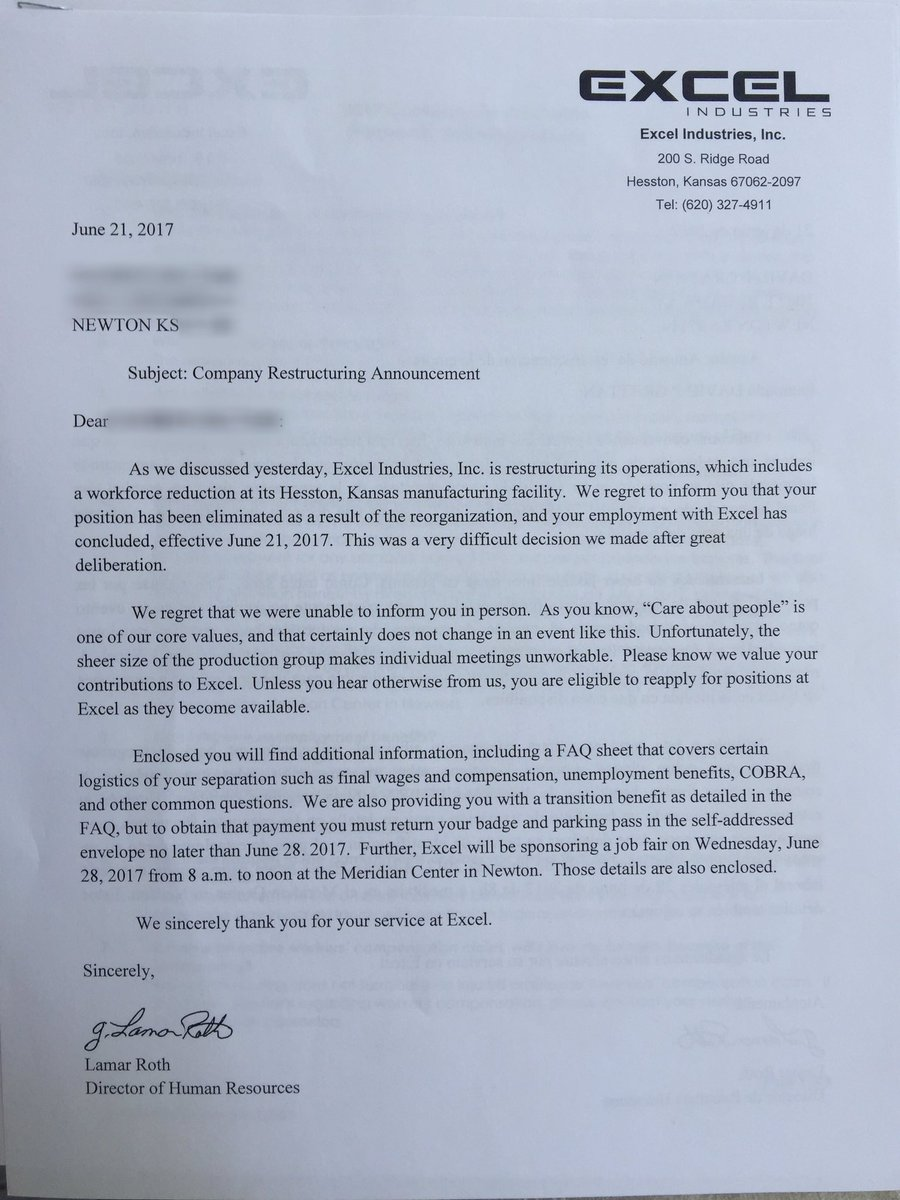 deedee sun on twitter letter that laid off excel employees are getting right now person who got this calls it heartbreaking