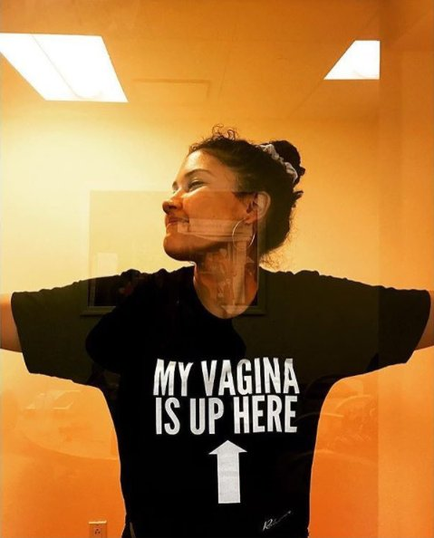 """RT @Reductress: """"My Vagina Is Up Here"""" Unisex Tee. Get it now at https://t.co/5BY0D6AbBe: https://t.co/fxIA7oih2i https://t.co/m37bWo4Bqj"""