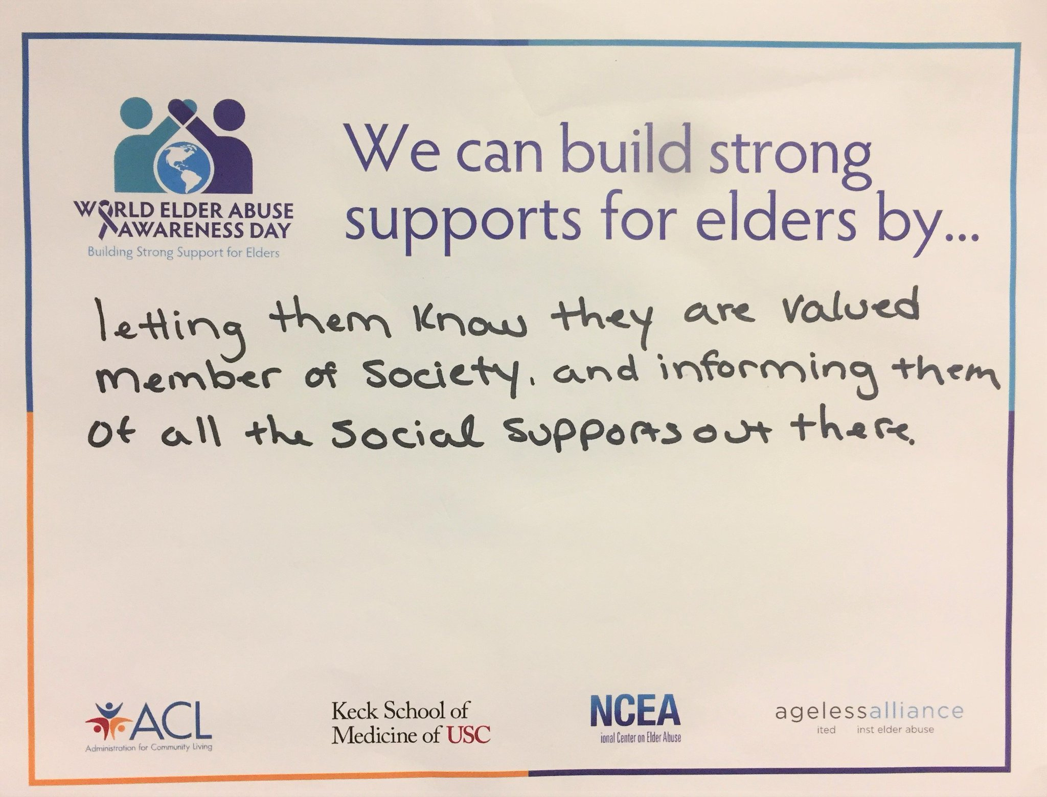 We can build strong supports for elders by... #endelderabuse #WEAAD @NCEAatUSC @ACLgov @AgelessAlliance https://t.co/xUIpohzH7P