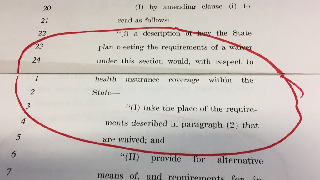 Page 135. This allows states to let insurance companies charge you more because of a pre-existing condition.