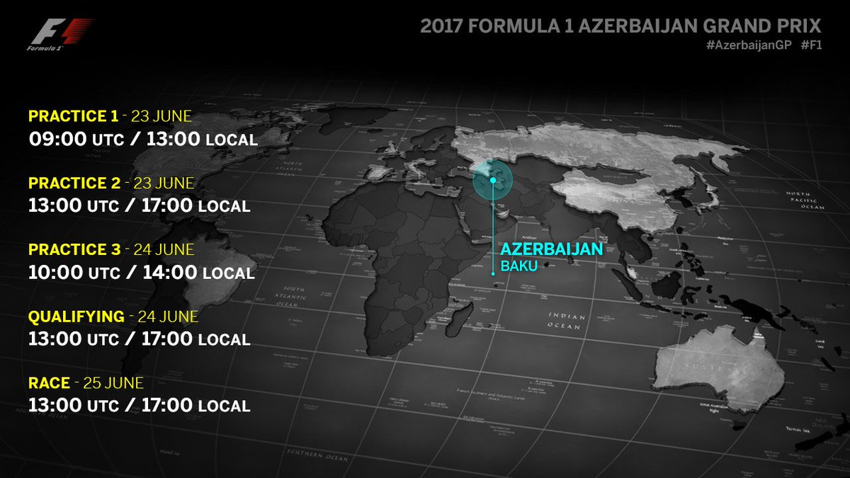 #AzerbaijanGP timings: when to watch! 🕘 🇦🇿 🏁 #F1 https://t.co/MlthSXxH...