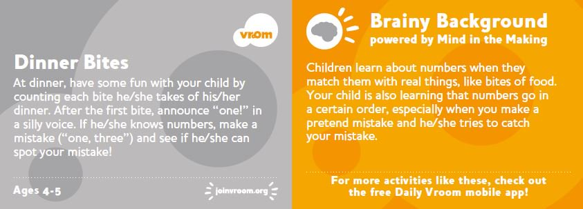 Combine eating and counting with this #VroomTip! As you enjoy a meal together you&#39;re helping your child learn about #numbers. <br>http://pic.twitter.com/SVeZPzO4hh