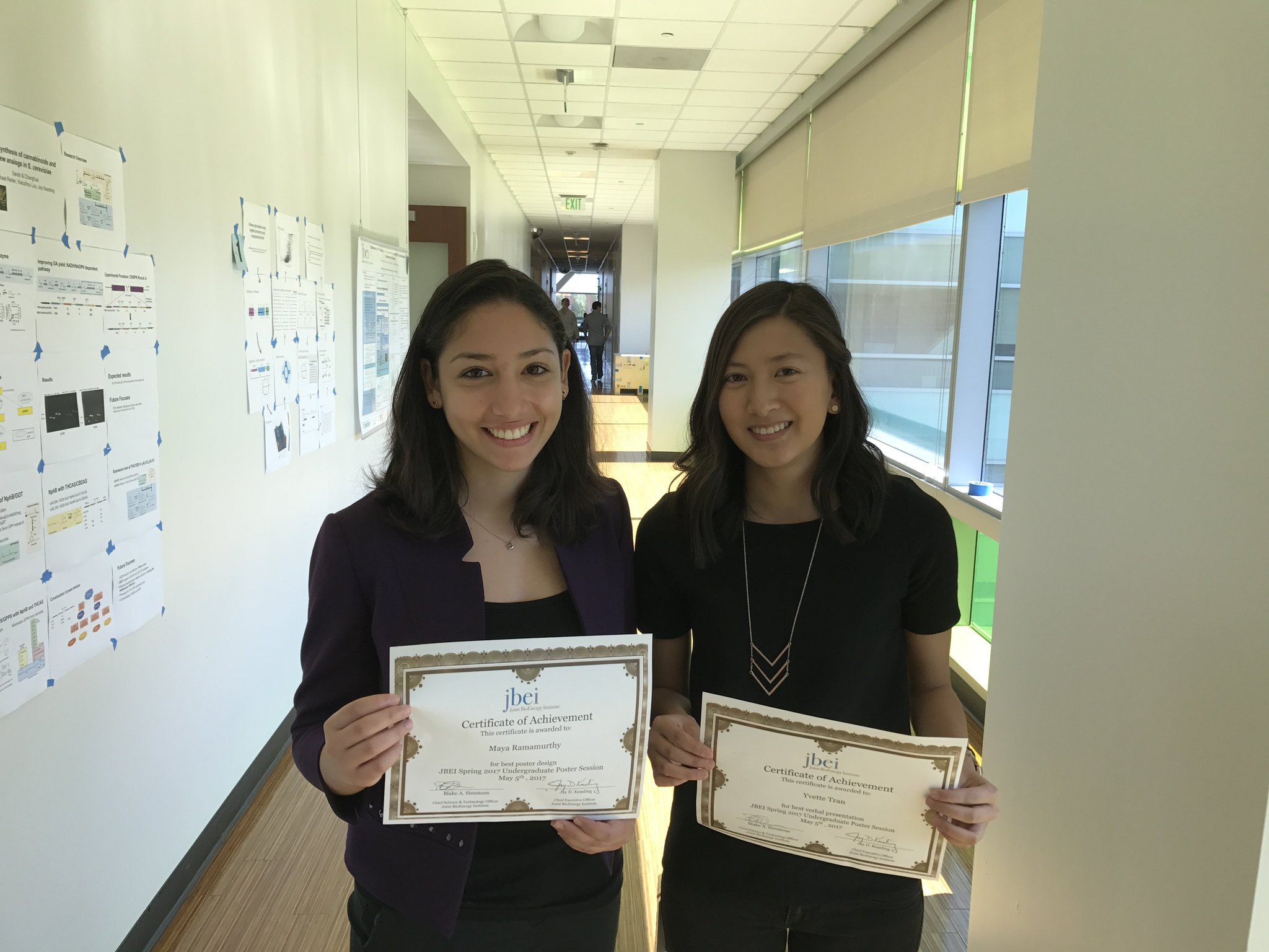 Maya & Yvette @UCBerkeley winners of @JBEI_ #Undergrad Poster Session! #BioBSE #BioSciNextGen https://t.co/bm0fF7z3pN https://t.co/zFn7B7p1j4