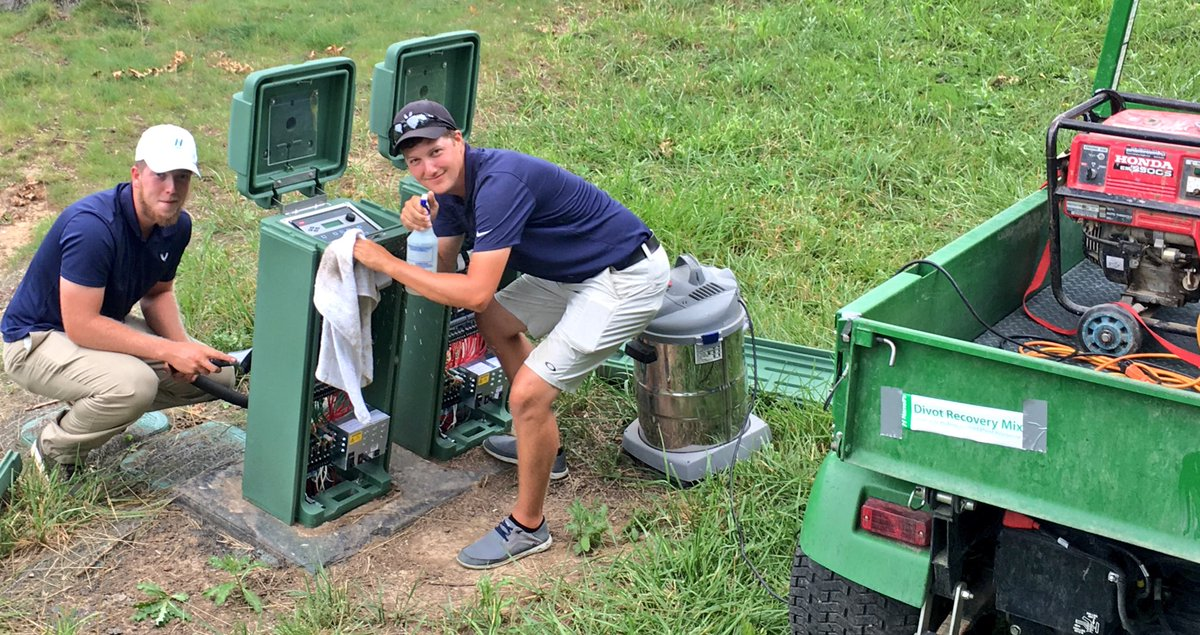 Cleaning the Irrigation Satellites @ValhallaGrounds today with @dylan_eastin @JacobThompsonnn #itsthelittlethings #detail Great Job guys.  <br>http://pic.twitter.com/bV0W8sSNFG