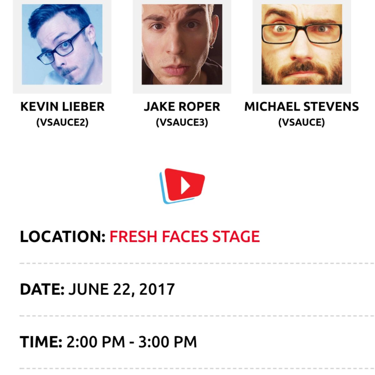 VSAUCE Q&A today at 2pm @VidCon SEE YOU THERE #vidcon2017 https://...