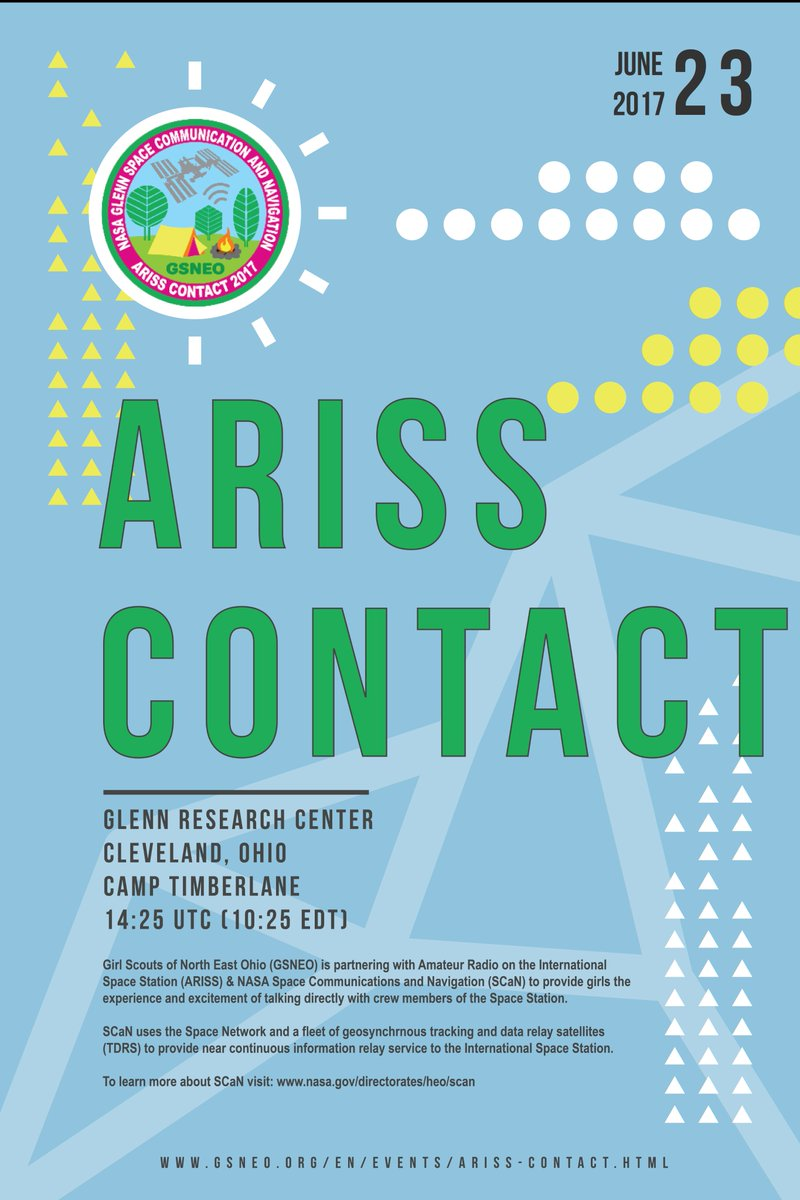 Tomorrow! @ARISS_status contact with @GSNEO and NASA SCaN team @NASAglenn at 10:25 EDT. #WomeninSTEM <br>http://pic.twitter.com/nNvlMsdJk8