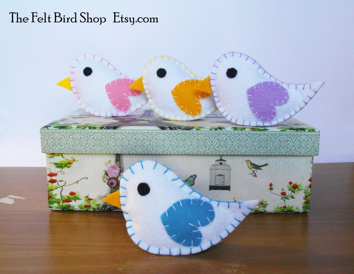 Cute Felt Birds, handmade in my shop:   http:// etsy.me/2sZinME  &nbsp;   via @Etsy #LadiesCoffeeHour #Birds #ShoppersHour #BabyShower<br>http://pic.twitter.com/QUC8gNd6Mz