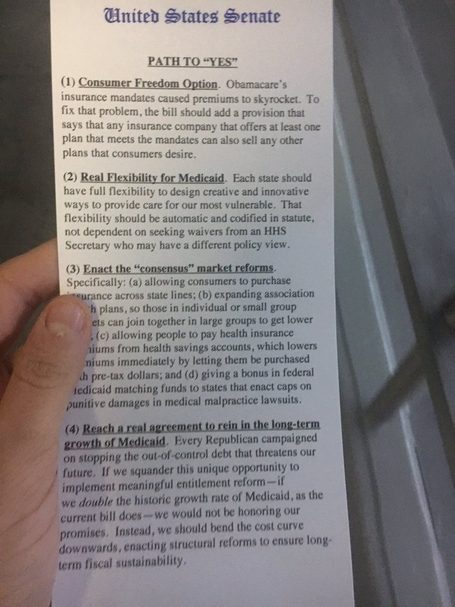 Sen. Ted Cruz handed these out today in Senate lunch. How he can get to yes.