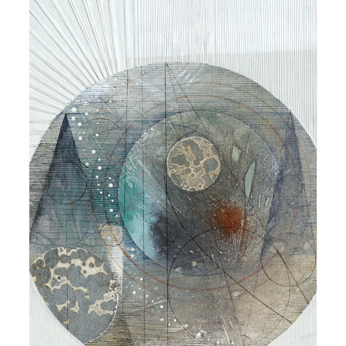 Transit #collage with #acrylic #pen and #etching - #abstract #celestial #mapping #stars<br>http://pic.twitter.com/xXEm27bsQl