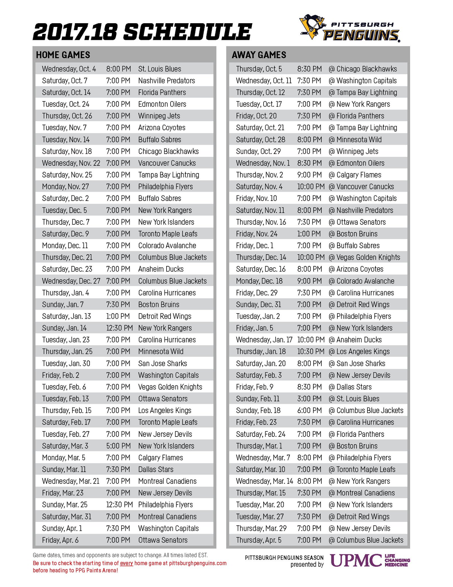 Dramatic image inside pittsburgh penguins printable schedule