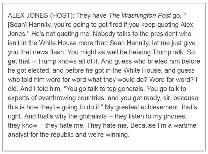 "Alex Jones says his ""greatest achievement"" was briefing Trump about the 'globalists' before he got elected: https://t.co/R0opMN4ESu"