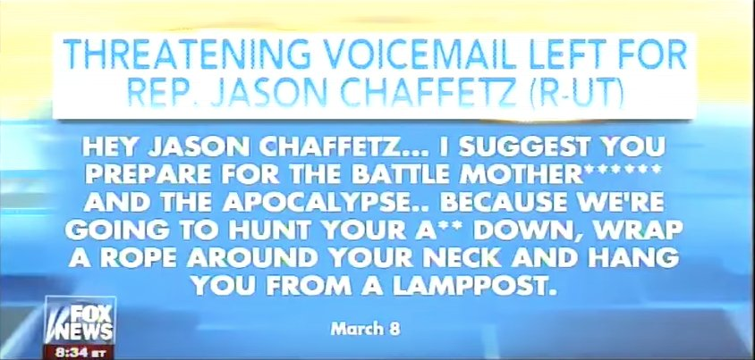 Jason Chaffetz Death Threat: 'Prepare for the Battle, Motherf**ker' https://t.co/0Q4wTE1hb1