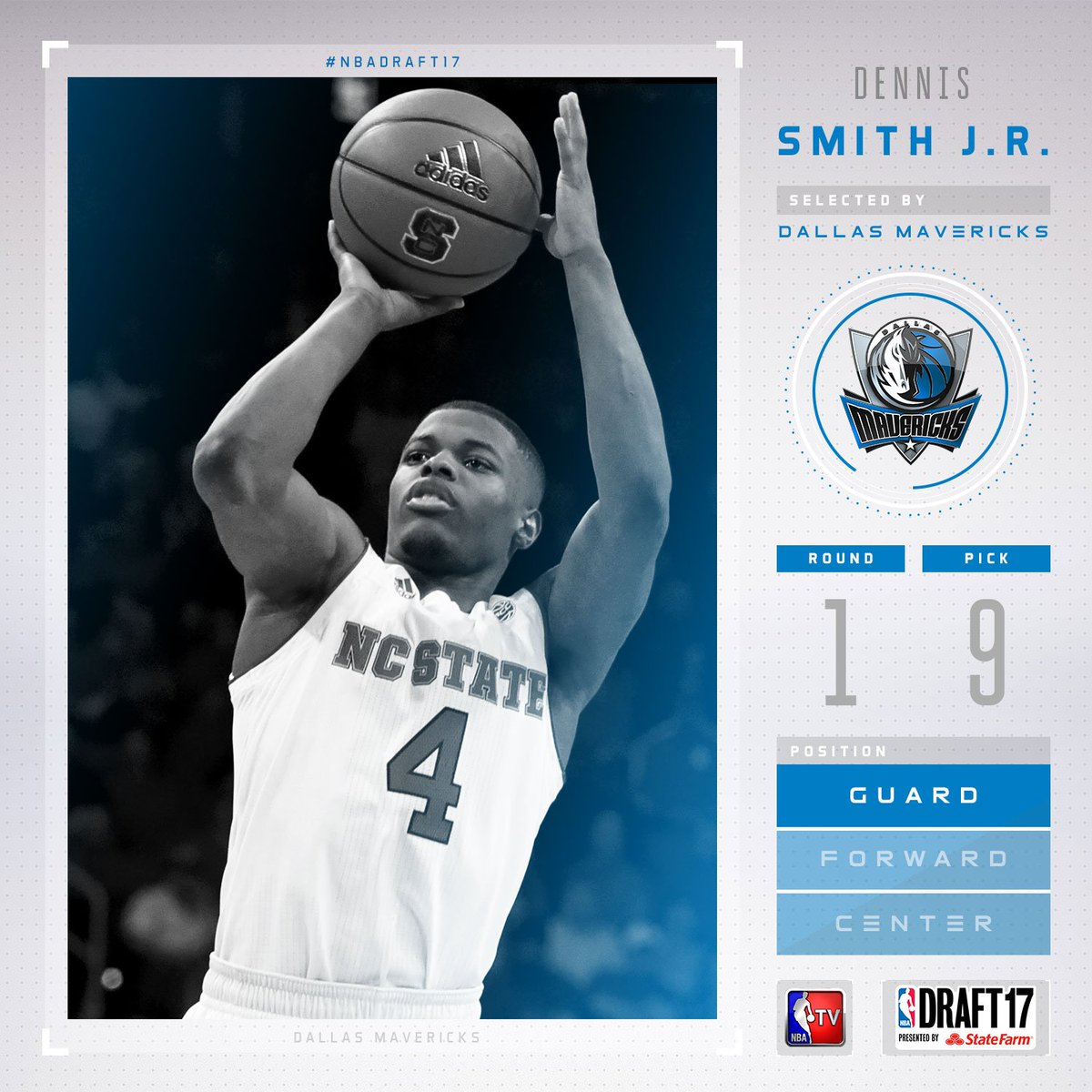 The @dallasmavs select Dennis Smith Jr. with the #9 pick in the 2017 #...
