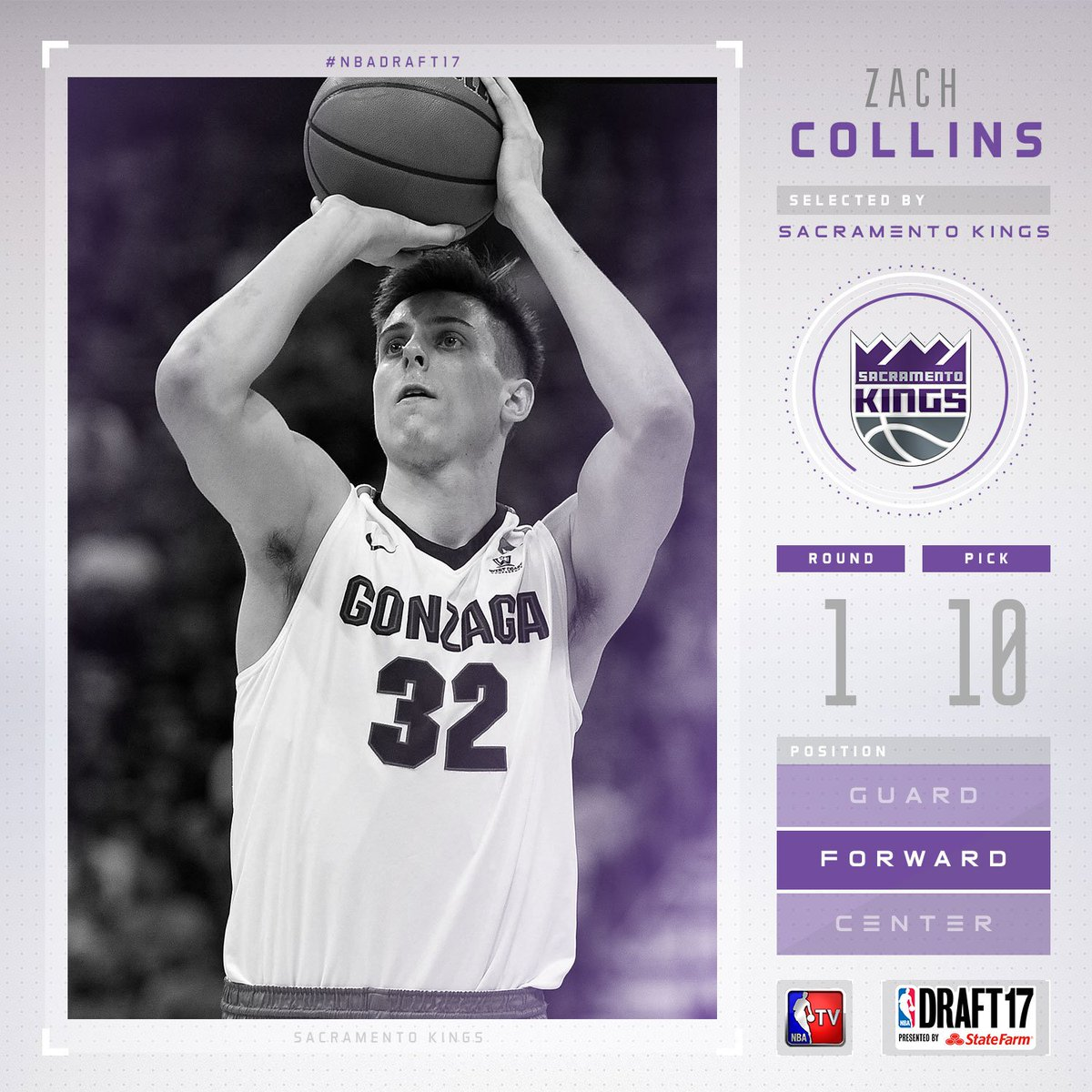 The @SacramentoKings select Zach Collins with the #10 pick in the 2017...