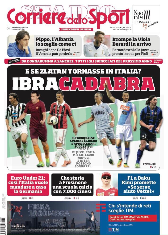 Front page of #CdS reports on #Berardi being heir to #Bernardeschi at #Fiorentina  -&gt; Bernardeschi to #Juve  -&gt; And if #Zlatan is back in? <br>http://pic.twitter.com/NqTeHe7l1H