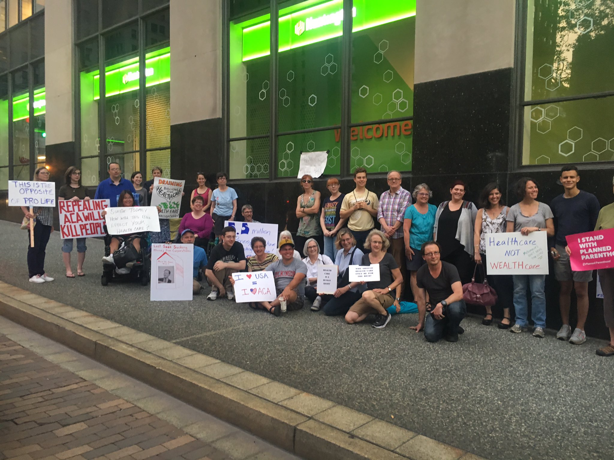 The 24hr #VigilforOurLives is still going strong outside @SenToomey's #PGH office!  #ProtectOurCare #HealthcareBill https://t.co/SQIOJ0blUV