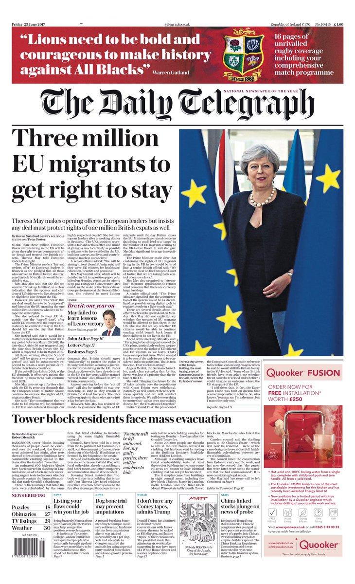 Friday's Telegraph: