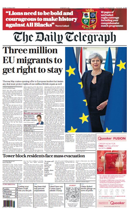 Tomorrow's Daily Telegraph front page: Three million EU migrants to ge...