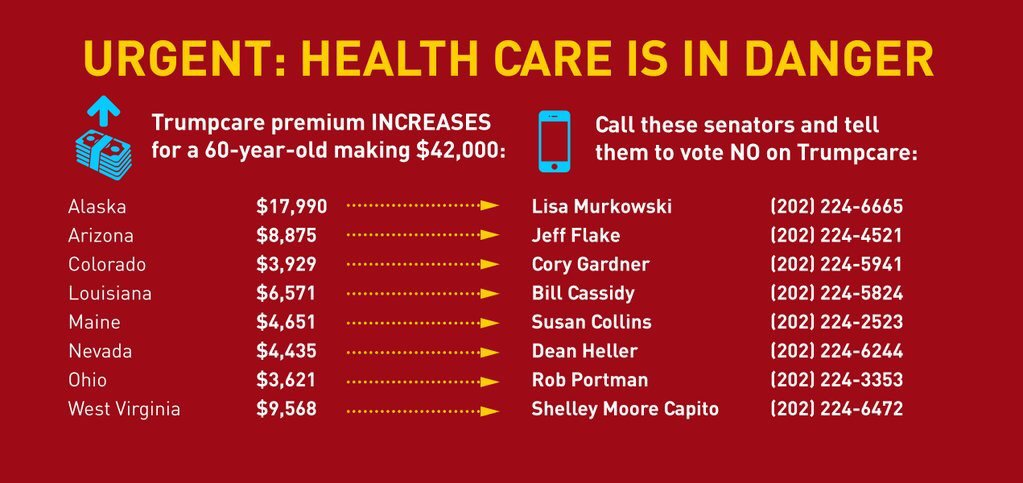 Here are the #Trumpcare increases for a 60 year old making 42,000 dollars a year:
