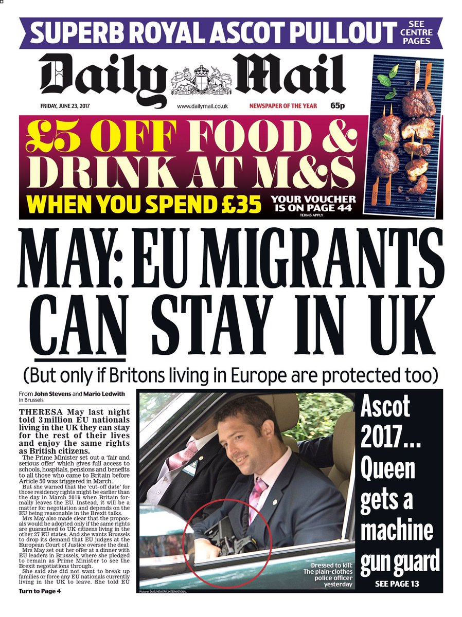 Friday's Mail: 'May: EU migrants can stay in U.K.' #tomorrowspaperstoday #bbcpapers (via @BBCHelenaLee https://t.co/feEcC7q3Cn