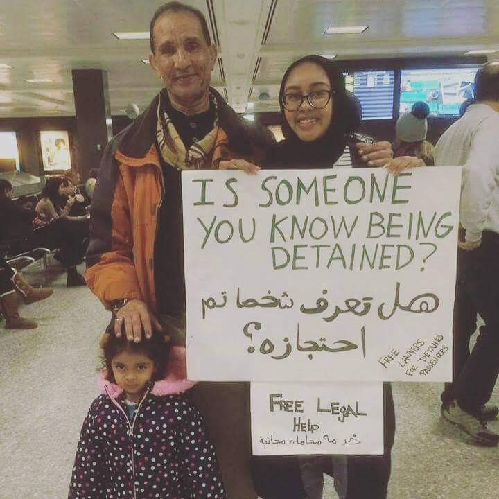 Here is Nabra Hassanen at Dulles extending a helping hand amid the travel ban chaos. RIP to this beautiful soul. May justice prevail.