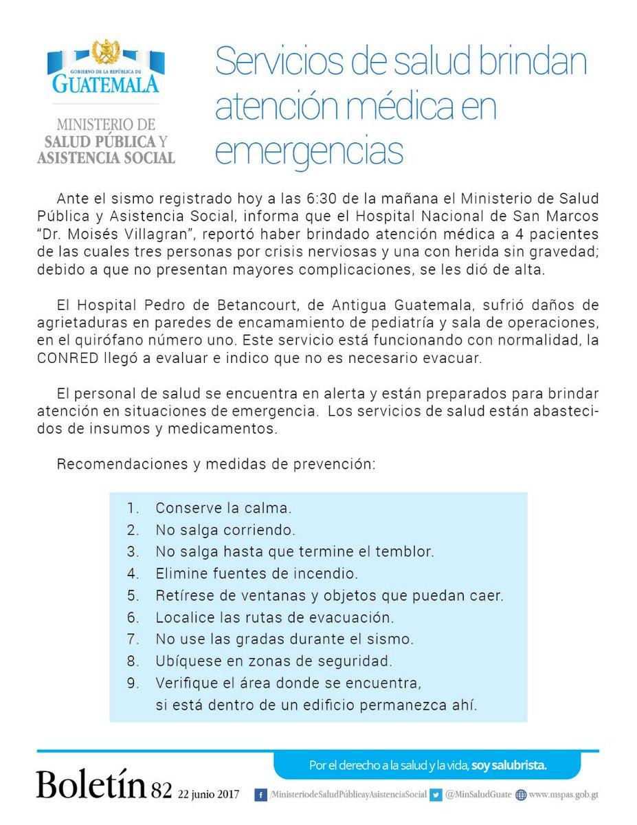 .@MinSaludGuate informa sobre emergencias atendidas en San Marcos tras #temblorgt. @CanalAntigua