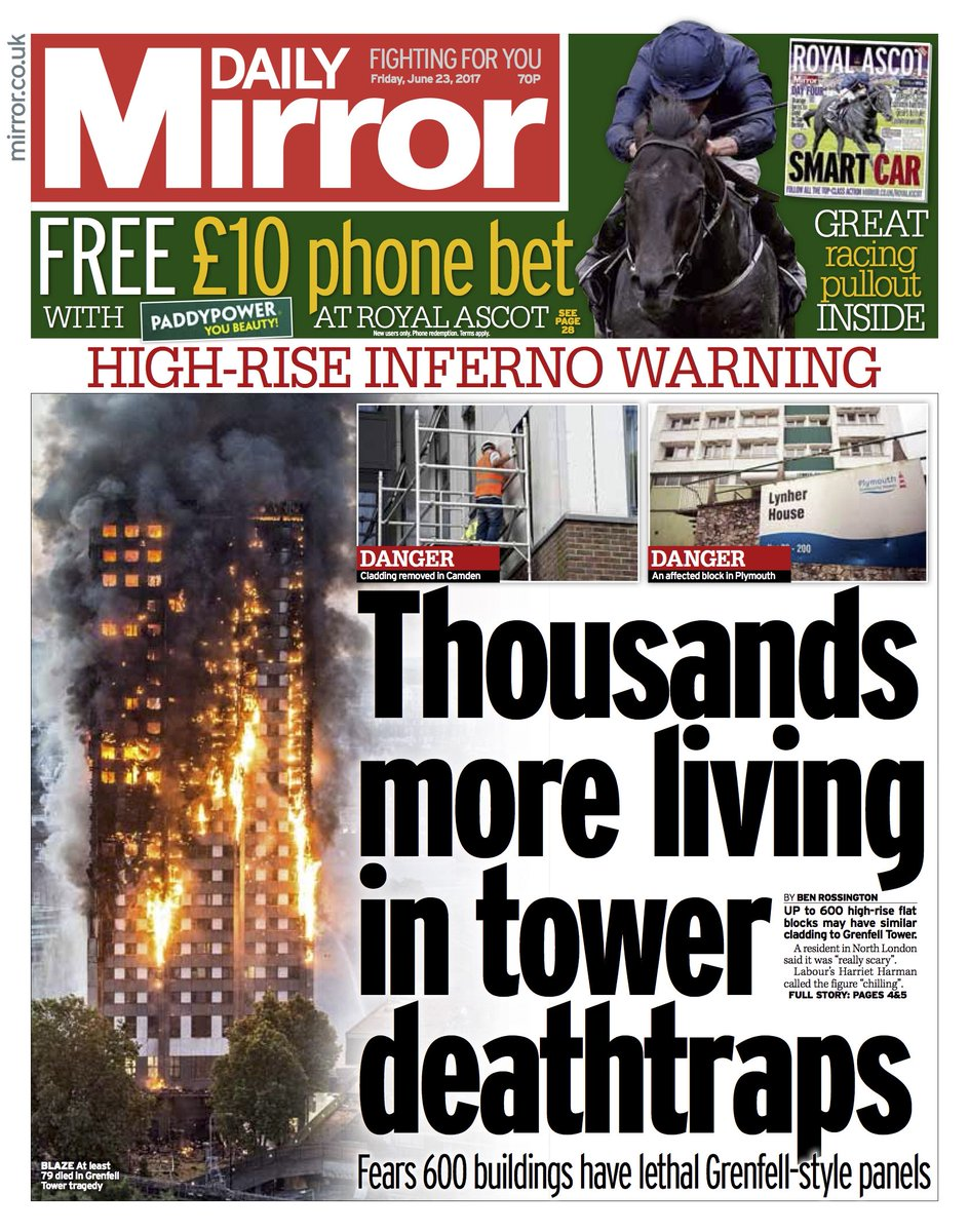 DAILY MIRROR FRONT PAGE: 'Thousands more living in tower deathtraps' #skypapers