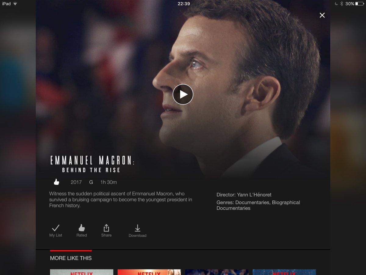 This @EmmanuelMacron documentary on @NetflixUK is brilliant! So interesting and actually, emotional! #bravo #EnMarche <br>http://pic.twitter.com/9rnb0q75R8