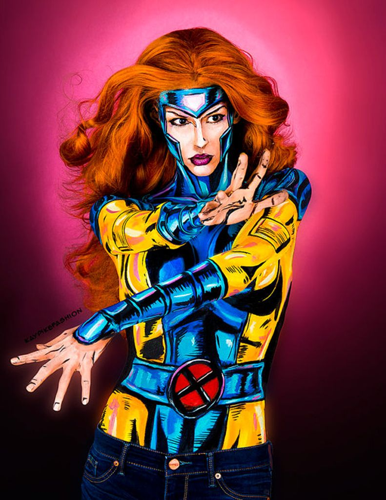 #100daysofmakeup 44/100 #bodypaint #Jean painted to play with the alternate costume idea, completely different from phoenix in the artwork <br>http://pic.twitter.com/6bGtSteKxb