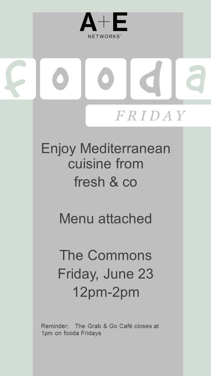 Any one in the mood for #Mediterranean #cuisineTomorrow @AENetworks #TheCommons for #foodafriday we welcome @freshandconyc #AENluvwhatUdo<br>http://pic.twitter.com/JCzM41yZlF