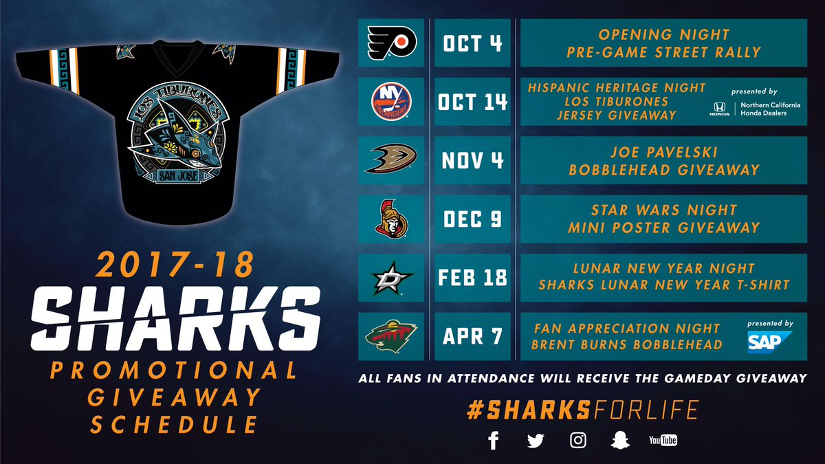 "san jose sharks on twitter: ""#sjsharks promotional schedule is out"