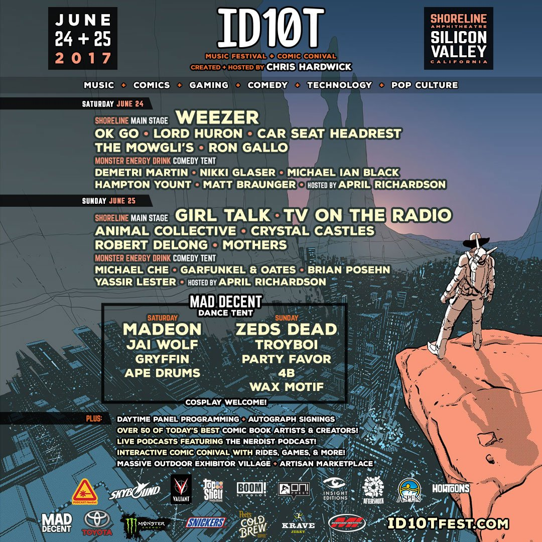 .@hardwick's #ID10TFest has an inSANE lineup this weekend! Get tickets...