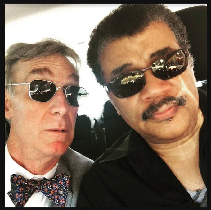 Me &  — R@BillNyeeminding you that when cosmic knowledge blows your mind, sometimes you gotta wear shades. #NationalSelfieDay