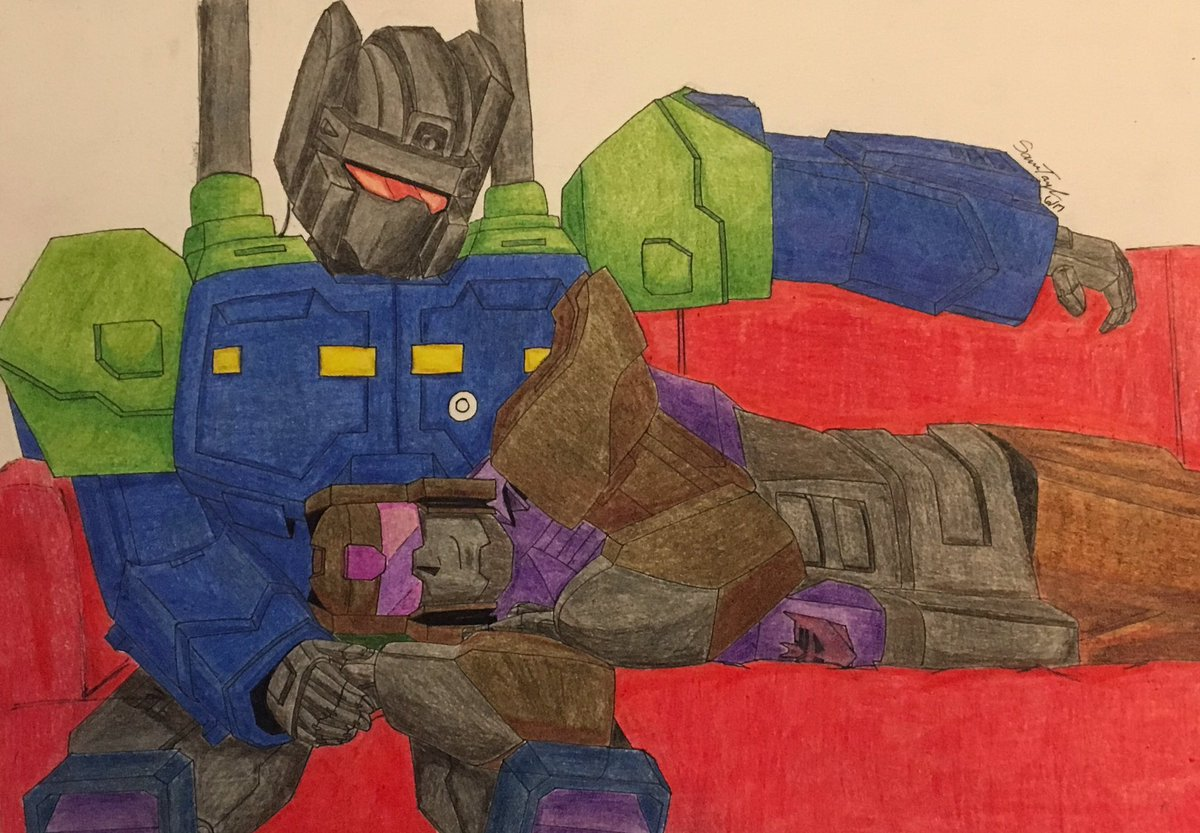 Blast Off and Onslaught relaxing together