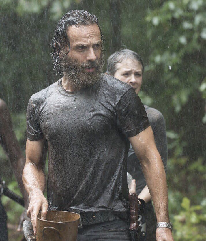 Evening  Summer cool down?  #TBT Andy as #RickGrimes is caught in a storm in #TheWalkingDead S5 Ep10 #Them ~ #AndrewLincoln #TWDFamily<br>http://pic.twitter.com/VpdtgFoRH7
