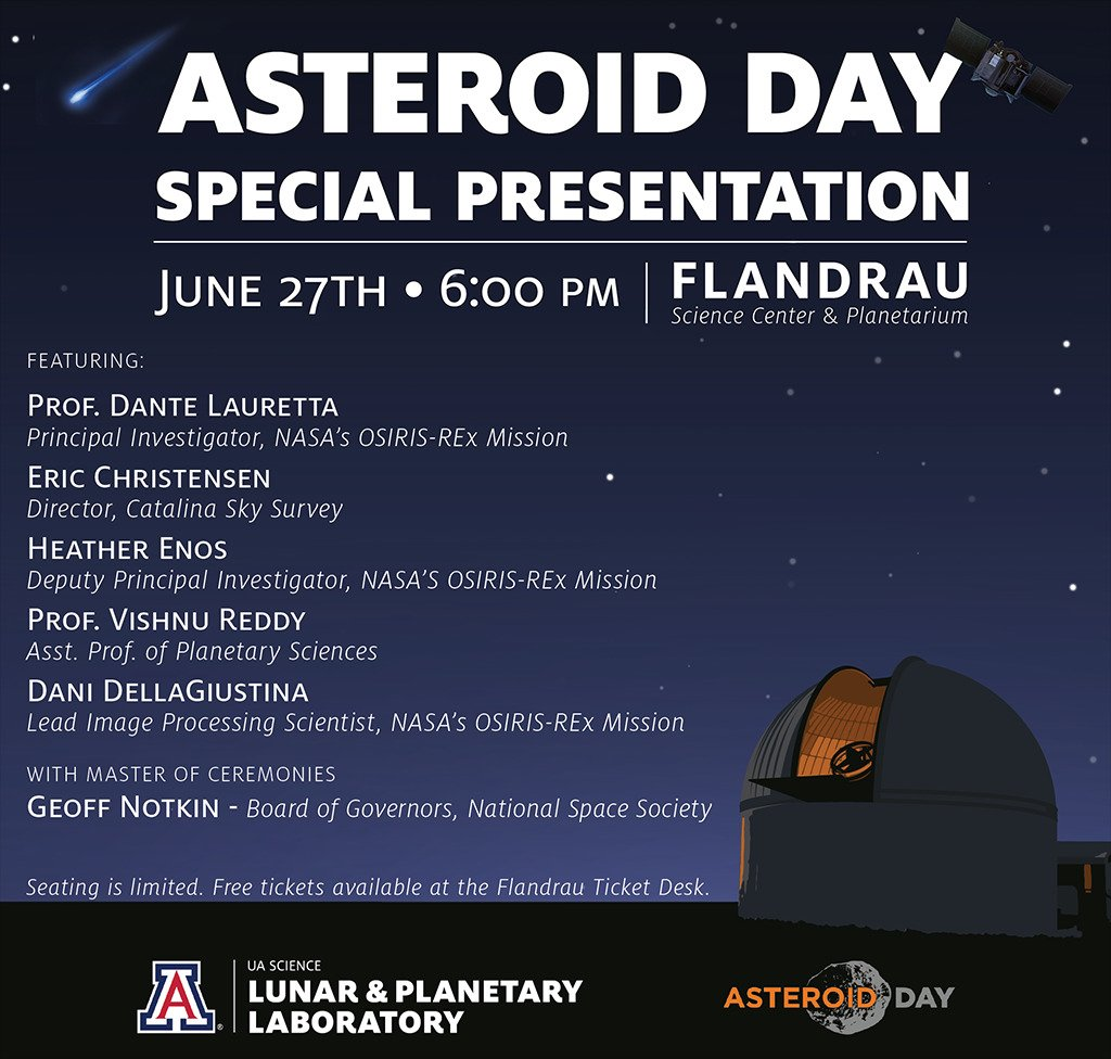#Tucson @UofA Event Spearheads Historic #AsteroidDay LIVE #Global Broadcast #PressRelease  http:// bit.ly/2sH4643  &nbsp;   #media #STEM #space<br>http://pic.twitter.com/B21zbnObRO