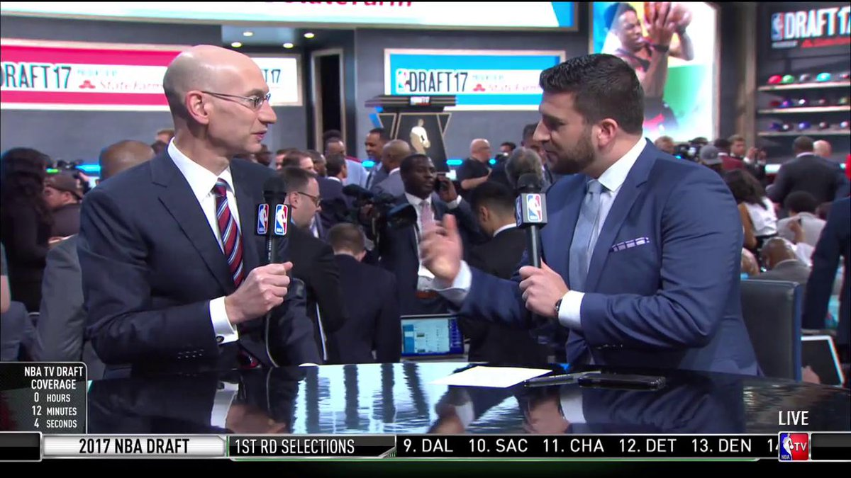 .@NBA Commissioner Adam Silver joined @JaredSGreenberg on set ahead of...