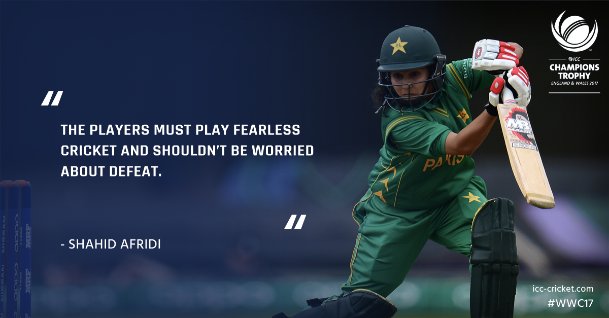Shahid Afridi says Pakistan's women can take inspiration from Sarfraz's side to win #WWC17 🇵🇰   Read his column: https://t.co/qYlRptxCRr