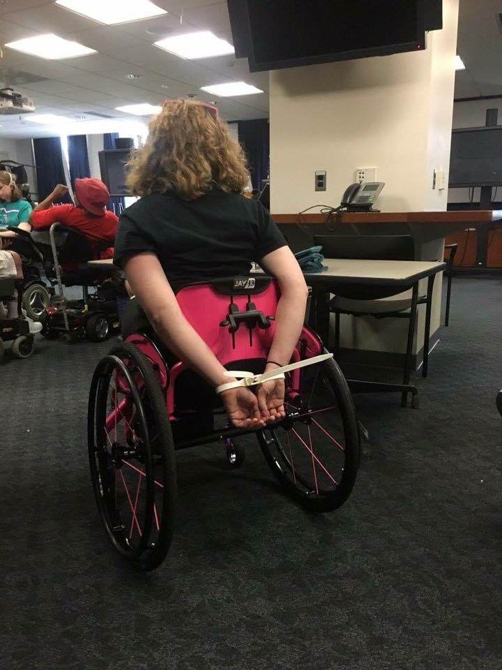She was Zip Tied in a wheelchair defending her very own healthcare. Shameful. https://t.co/sPRKdpALM9